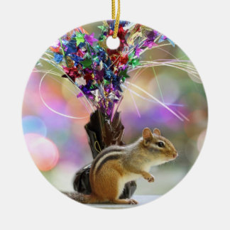 Party Time Chipmunk Picture Ceramic Ornament