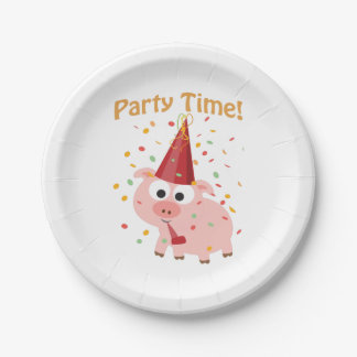 Party time confetti Pig Paper Plate