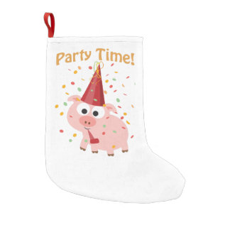 Party time confetti Pig Small Christmas Stocking