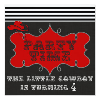 Party Time Cowboy Western Birthday Invitations