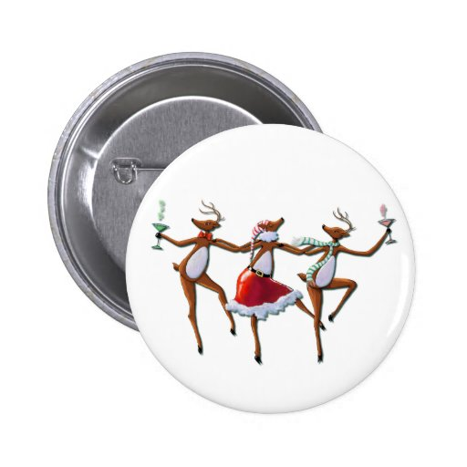 PARTY TIME DANCING REINDEER by SHARON SHARPE Pinback Button