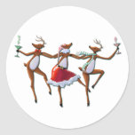 PARTY TIME DANCING REINDEER by SHARON SHARPE Round Sticker