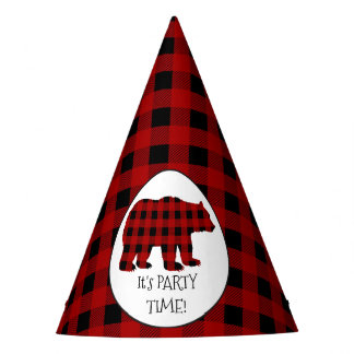 Party time Lumberjack bear pattern paper hat
