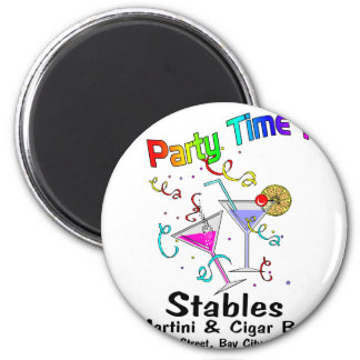 party time 6 cm round magnet