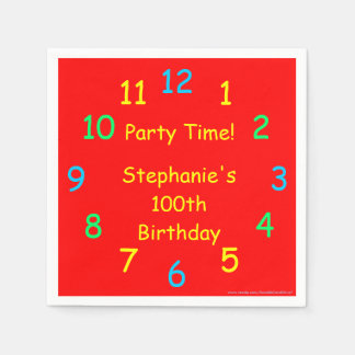 Party Time Paper Napkins, 100th Birthday, Red Disposable Serviette