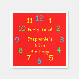 Party Time Paper Napkins, 65th Birthday, Red Disposable Serviettes