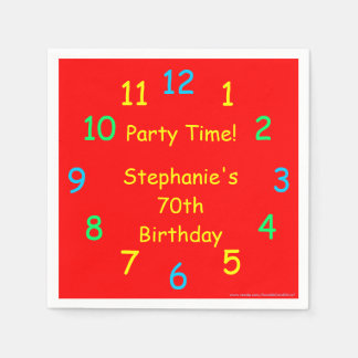 Party Time Paper Napkins, 70th Birthday, Red Disposable Serviettes