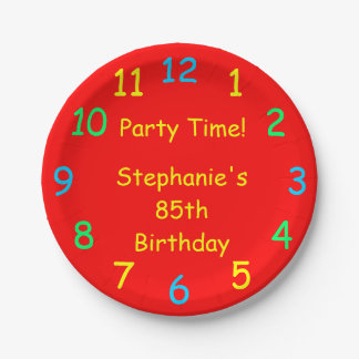 Party Time Paper Plates, 85th Birthday, Red Paper Plate