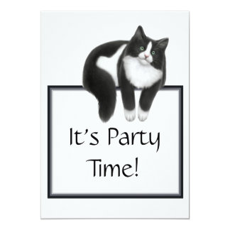 Party Time Tuxedo Cat Invitation