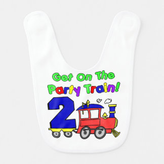 Party Train Second Birthday Baby Bibs