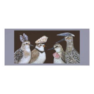 Partying shorebirds flat card 10 cm x 24 cm invitation card
