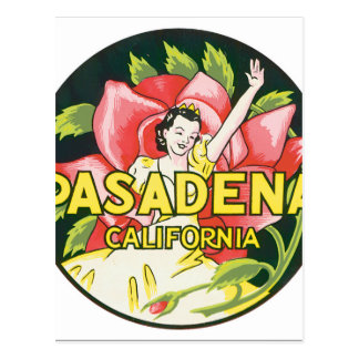 Pasadena California Vintage Travel Poster Artwork Postcard