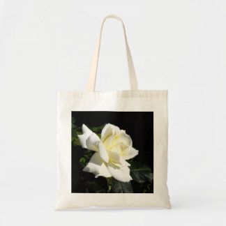 Pascali white hybrid tea rose budget tote bag