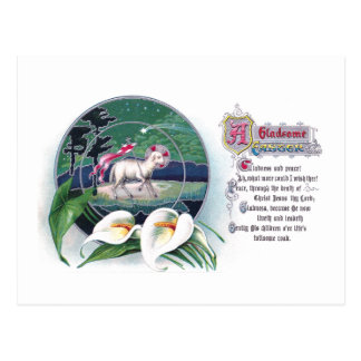 Paschal Lamb and White Lilies Vintage Easter Postcard