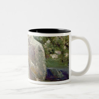 Pasie sewing in Bougival's Garden, 1881 Two-Tone Coffee Mug