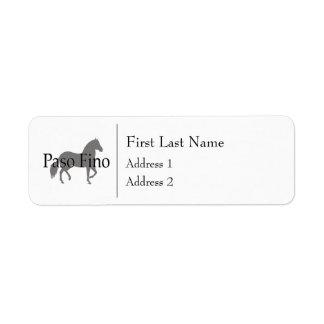 Paso Fino Silhouette Text 1 Return Address Label