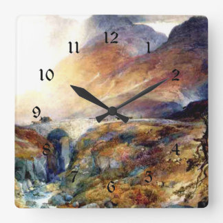 Pass at Glencoe, Scotland fine art painting Square Wall Clock