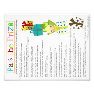 Pass the Prize game sheet MonkeyHutDesigns Photo Print