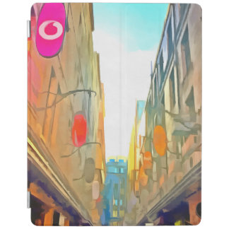 Passage between colorful buildings iPad cover