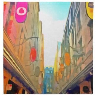 Passage between colorful buildings napkin