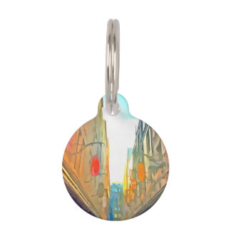 Passage between colorful buildings pet ID tag