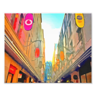 Passage between colorful buildings photo print