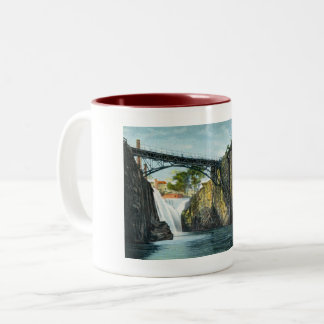 Passaic Falls, Paterson NJ 1907 vintage Two-Tone Coffee Mug