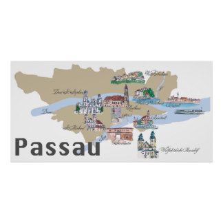 Passau Germany highlights map Poster