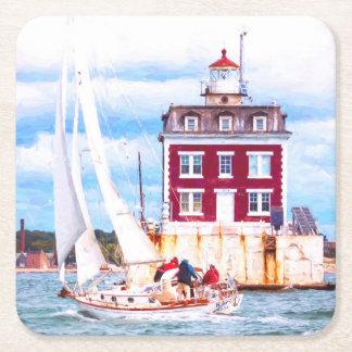 Passing Ledge Light Square Paper Coaster