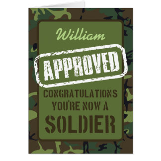 Passing Out Parade Camo Training Soldier Congrats Greeting Card