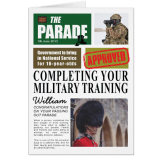 Passing Out Parade Newspaper Article Congrats Card