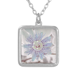 Passion Flower Pink Silver Plated Necklace