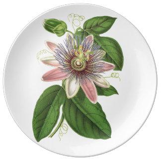 Passion flower plate porcelain plate