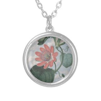 Passion Flower Silver Plated Necklace
