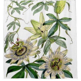 Passion Flower Vintage Print Shower Curtain