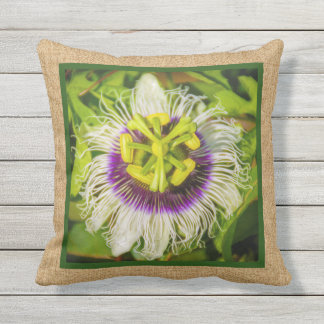 Passion Fruit Flower Hawaiian Reversible Outdoor Throw Pillow