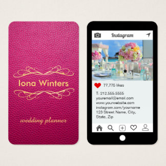 Passion Pink Mock Leather Instagram Style Business Card