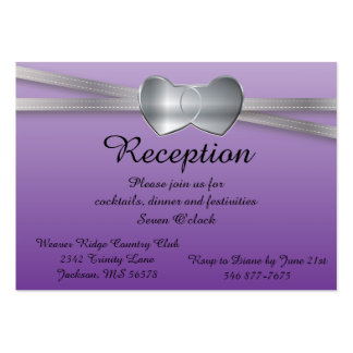 Passion Purple and Silver Wedding Love Hearts Pack Of Chubby Business Cards