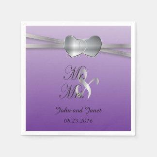 Passion Purple and Silver Wedding Love Hearts Paper Serviettes