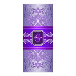 Passion Purple Jeweled Ribbon Wedding Invitation