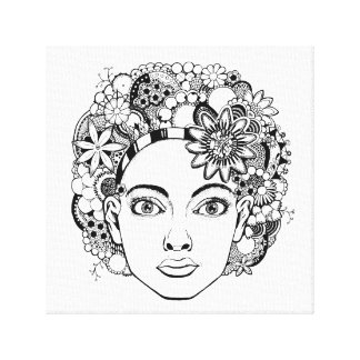 """""""Passion"""" Woman's Face Drawing with Flowers Print"""