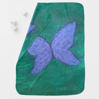 Passionate Baby | Purple Blue Butterfly on Green | Baby Blanket