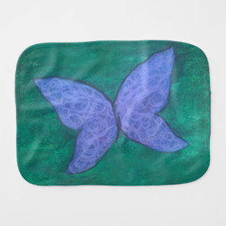 Passionate Baby | Purple Blue Butterfly on Green | Burp Cloth