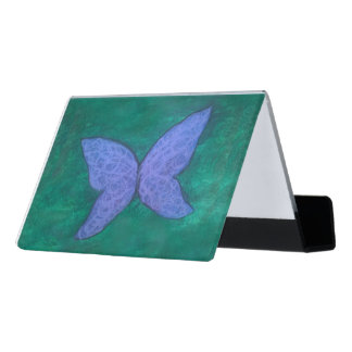 Passionate Desk | Chic Purple Blue Butterfly Green Desk Business Card Holder