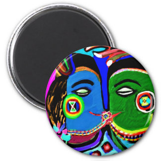 Passionate Kiss - Vintage India Cave Art Style 6 Cm Round Magnet