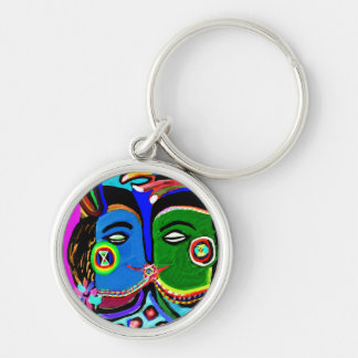 Passionate Kiss - Vintage India Cave Art Style Key Ring