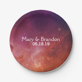 Passionate Love Universe Nebula Wedding 7 Inch Paper Plate