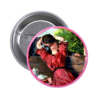 Passionate Lovers Kiss Vintage Vanlentine Button