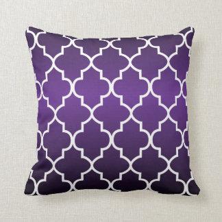 Passionate Plum Purple and White Quatrefoil Throw Pillow