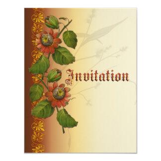 Passionflower Wedding Rust 11 Cm X 14 Cm Invitation Card